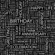 BIRTHDAY. Seamless vector pattern with word cloud. — Stock vektor