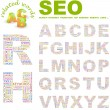SEO. letter collection. Illustration with different association terms. - Stock Vector