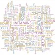 VITAMINS. Word collage on white background. Vector illustration. — Stock vektor