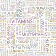 VITAMINS. Word collage on white background. Vector illustration. — Vecteur