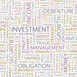 INVESTMENT. Seamless vector pattern with word cloud. — ベクター素材ストック
