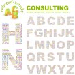 Stock Vector: CONSULTING. Vector letter collection. Wordcloud illustration.