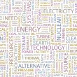 ENERGY. Seamless vector pattern with word cloud. — Grafika wektorowa