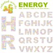 Stock Vector: ENERGY. Vector letter collection.