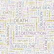 DEATH. Seamless vector pattern with word cloud. — Stock Vector