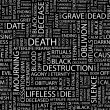 Stock Vector: DEATH. Word collage on black background.