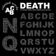 DEATH. letter collection. Illustration with different association terms. - Stock Vector