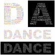 DANCE. letter collection. Illustration with different association terms. — Vettoriali Stock