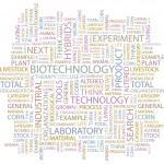 Biyoteknoloji. beyaz zemin üzerinde kelime kolaj — Stok Vektör