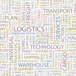 LOGISTICS. Seamless vector pattern with word cloud. — Stock Vector