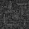 LOGISTICS. Word collage on black background. — Stockvektor