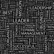 LEADER. Word collage on black background. Vector illustration. — Image vectorielle