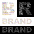 BRAND.  Vector illustration. Illustration with different association terms. — Stock Vector