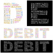 Stock Vector: DEBIT. Word collage.