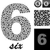 Six. Background with numbers — Stock Vector