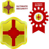 ULTIMATE SECURITY. Set of sale labels. — Stock Vector