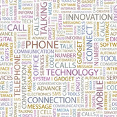PHONE. Seamless vector pattern with word cloud. — Stock Vector
