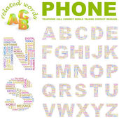 PHONE. Vector letter collection — Stock Vector