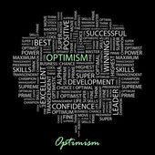 OPTIMISM. Seamless vector pattern with word cloud — Stock Vector