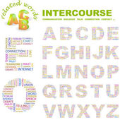 INTERCOURCE. Word collage on black background. — Stock Vector