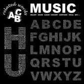 MUSIC. Vector letter collection. Illustration with different association te — Stock Vector