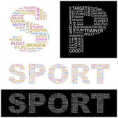 SPORT. Vector letter collection. Wordcloud illustration. — Vector de stock