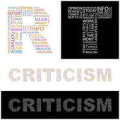 CRITICISM. Seamless vector pattern with word cloud. — Stock Vector