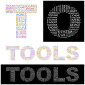 TOOLS. Seamless vector pattern with word cloud. — Stock Vector