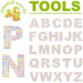 TOOLS. Seamless vector pattern with word cloud. — Stockvektor