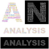 ANALYSIS. Word collage on white background. — Stock Vector
