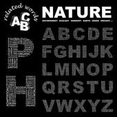 NATURE. Vector letter collection. — Stock Vector
