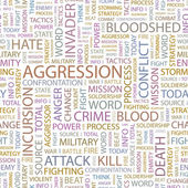AGGRESSION. Word collage on white background. Vector illustration. — Stock Vector