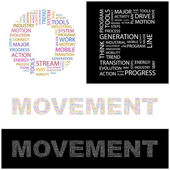 MOVEMENT. Word collage on background. Vector illustration. — Stock Vector