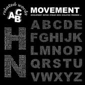 MOVEMENT. Word collage on black background. Vector illustration. — Stock Vector