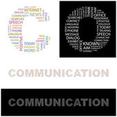 COMMUNICATION. Word collage — Stock Vector