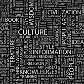 Cultuur. woord collage op zwarte achtergrond. — Stockvector