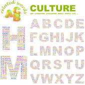 CULTURE. Illustration with different association terms. — 图库矢量图片