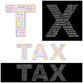 TAX. Word collage on black background. — Stock Vector