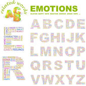 EMOTIONS. Illustration with different association terms. — Vector de stock