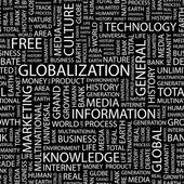 Mondialisation. alphabet. illustration à l'aide de termes différents association. — Vecteur