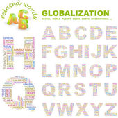 GLOBALIZATION. Alphabet. Illustration with different association terms. — Stock Vector