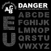 DANGER. Word collage on black background. — Stock Vector