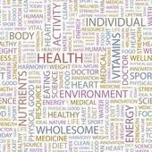 Hälsa. vektor brev samling. wordcloud illustration. — Stockvektor