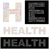 HEALTH. Vector letter collection. Wordcloud illustration. — Stock Vector