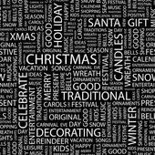 CHRISTMAS. Illustration with different association terms. — Stock vektor