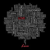 LOVE. Seamless vector pattern with word cloud. — Stockvektor