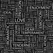 LOVE. Seamless vector pattern with word cloud. — Stockvector