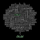 CHILD. Seamless vector pattern with word cloud. — Stok Vektör