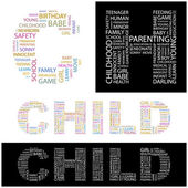 CHILD. Illustration with different association terms. — Cтоковый вектор