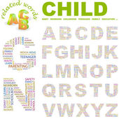 CHILD. Illustration with different association terms. — Stok Vektör